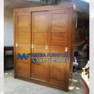 Pusat Jual Lemari Pakaian Jati 3 Pintu Model Sliding Minimalis Jepara