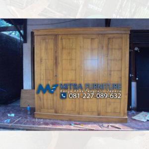 Pusat Jual Lemari Pakaian Kayu Jati Minimalis Jepara 4 Pintu